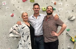 Access North Structures Business Development Director, Daniel Northcott (centre) with Don Juan actors, Susie Berry & Andrew Paterson