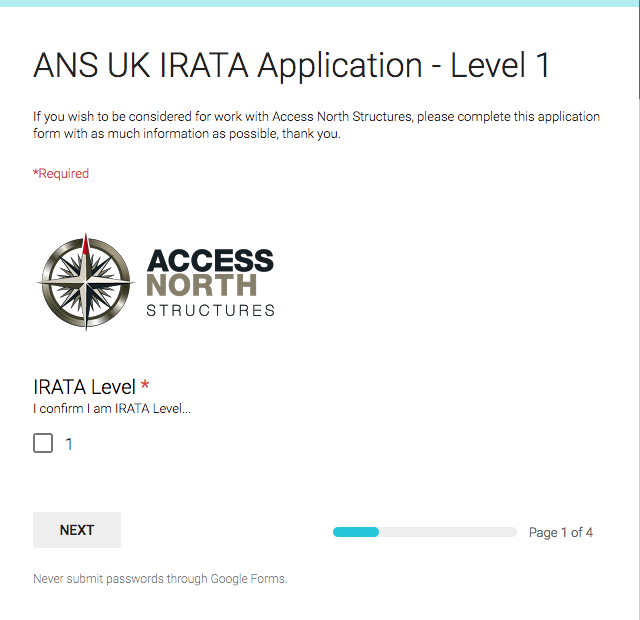 IRATA L1 Application Form - Access North Structures