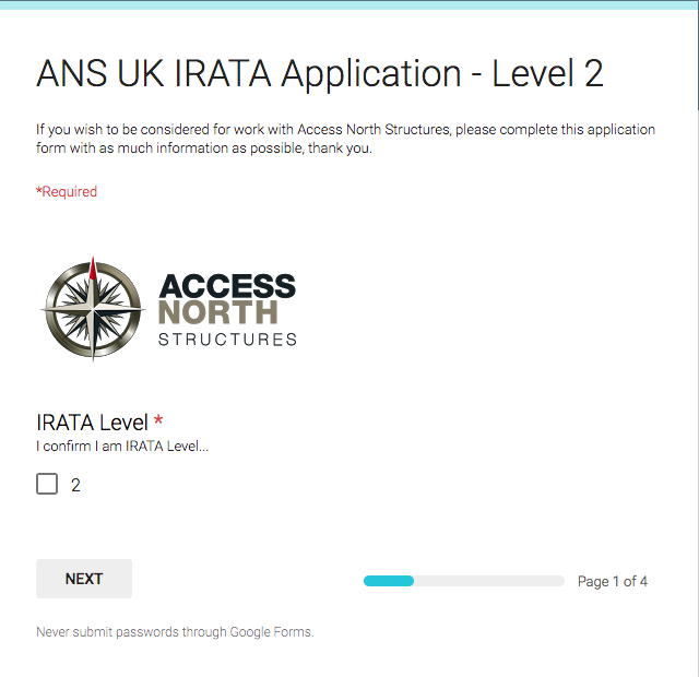 IRATA L2 Application Form - Access North Structures