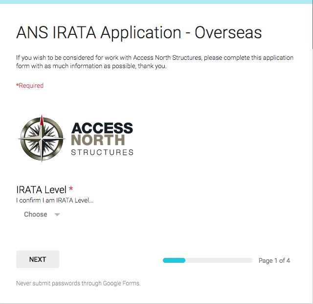 IRATA Overseas Application Form - Access North Structures